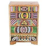 Marrakesch Indica RK105 - Cómoda (19,5 x 12 x 29 cm, madera auténtica, 5 cajones de colores, pintada a mano)