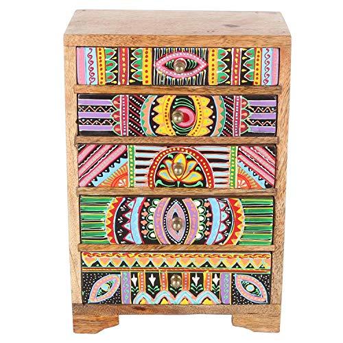 Casa Moro Mini-Kommode Indica 19,5x12x29 cm (B/T/H) aus Echtholz mit 5 bunten Schubladen | bemaltes Holz Kästchen afrikanischer Stil | Originelle Geschenk-Idee Muttertag | RK105