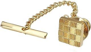 HAWSON Mens Square Tie Tack with Chains Check Tie Clip Button