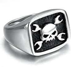 TIANYI Jewelry Mens Stainless Steel Skull Head Ring Spanner Wrench Biker, Black Silver