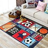 Fun Sport Kids Rugs Nylon Carpet Soccer Baseball Football Basketball with Multi-Color for Boy Girl Playroom (100130cm(39''51''))