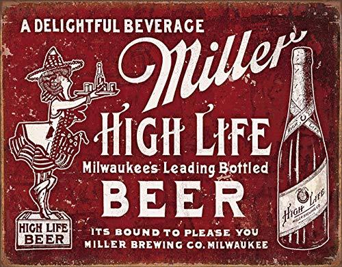 Desperate Enterprises Miller High Life Beer - Bound to Please Tin Sign, 16' W x 12.5' H