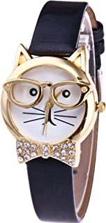 Datework Cute Glasses Cat Analog Quartz Dial Wrist Watch (Black)