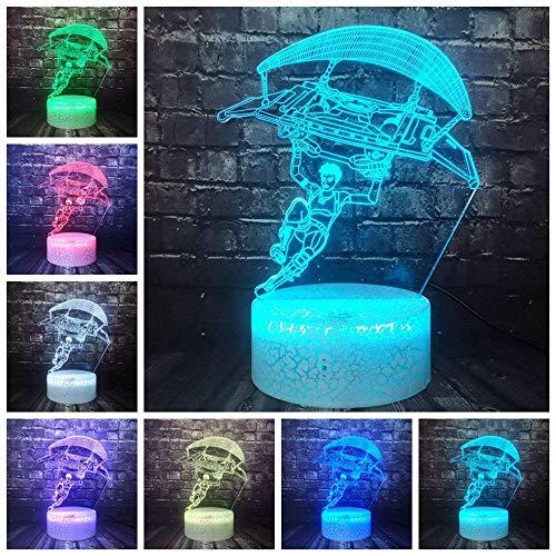 3D Illusionslampe LED Nachtlicht Nachtlicht Klassisches Stammesspiel Clash Royale Battle Royale Spiel Tps Fallschirm Optischer Cartoon 7 Color Touch Change Boy