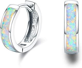 Damen Creolen Ohrringe,925 Sterling Silber Opal Ohrringe Kleine Creolen Kreis Ohrringe Kreolen Geschenke für Tochter,Kinder,Mädchen