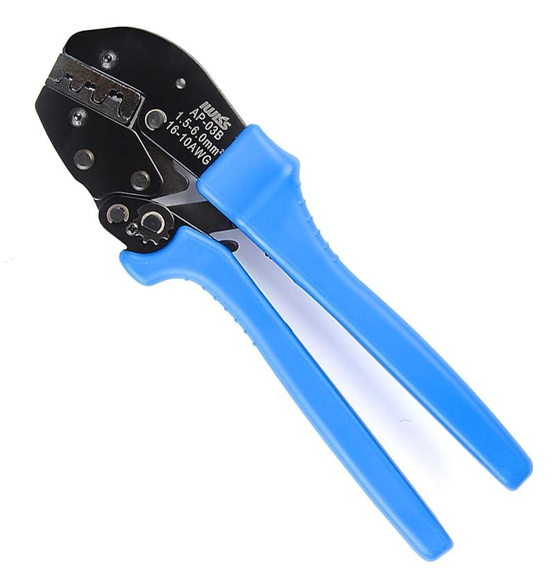 アイウィス(IWISS) ラチェット式 ギボシ端子 ファストン端子 同時圧着ペンチ 省力化タイプ 1.5-6.0mm2対応 AP-03B