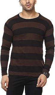 Cenizas Men's Full Sleeves Round Neck Striped Casual Tshirt/T-Shirt