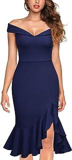 Knitee Women's Elegant Off Shoulder V-Neck Evening Party Cocktail Dress