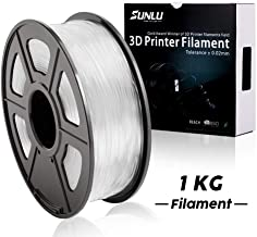 SUNLU 3D Printer Filament PLA, 1.75mm PLA Filament, 3D Printing Filament Low Odor, Dimensional Accuracy +/- 0.02 mm, 2.2 LBS (1KG) Spool 3D Filament for 3D Printers & 3D Pens, Transparent PLA