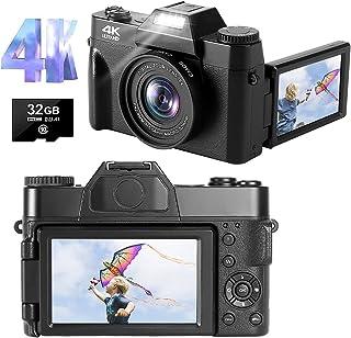 Digitalkamera 4K Fotoapparat Digitalkamera 48MP 30FPS Full HD Kompaktkamera 16X Digitalzoom mit 3,0 Zoll 180-Grad-Drehung Flip-Screen-fotokamera für YouTube (Autofokus & 32GB Micro SD Karte)