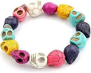 Hithop Tibetan Prayer Multicolor Skull Beads Skeleton Handmade Bracelet Jewelry for Women Girl