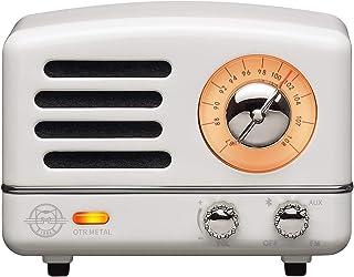 Muzen M-OTR Metal White Portable Wireless FM Radio and Bluetooth Speaker, Chiffon White