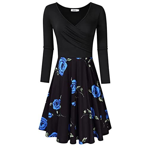 MISSKY Women s V-Neck A-line Floral Party Knee Length Dress 0b562e6c1