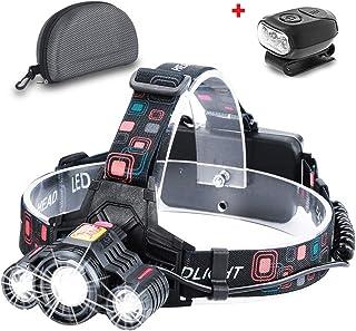 Zoomable Headlamp Flashlight, 18650x2 USB Rechargeable Battery Headlamp-6000 Lumen Brightest 3 LED Lamps Work Headlight, 4 Lighting Modes IP54 Waterproof Headlamp (Black)