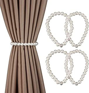 SIMAIYI Magnetic Curtain Tiebacks,4 Pieces16 Pearl curtain tie back Decorative Curtain Tiebacks for Home, Office, Hotel Wi...