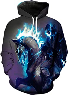 Blue Flames Ghost Rider 3D Hooded Sweatshirt Pullover