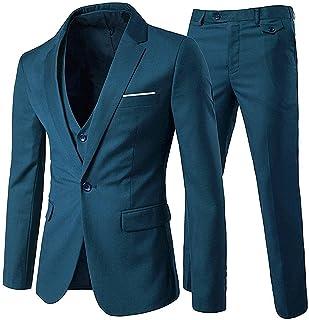 طقم بدلة رجالي من 3 قطع من Cloudstyle طية صدر مشقوقة بزر واحد مناسب لشكل الجسم
