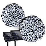 Qedertek 2 Pack Solar String Lights, 72ft 200 LED Solar Lights Outdoor Waterproof Decorative Fairy Lights with 8 Lighting Modes for Home, Patio, Lawn, Garden, Party and Holiday Decorations(Cool White)