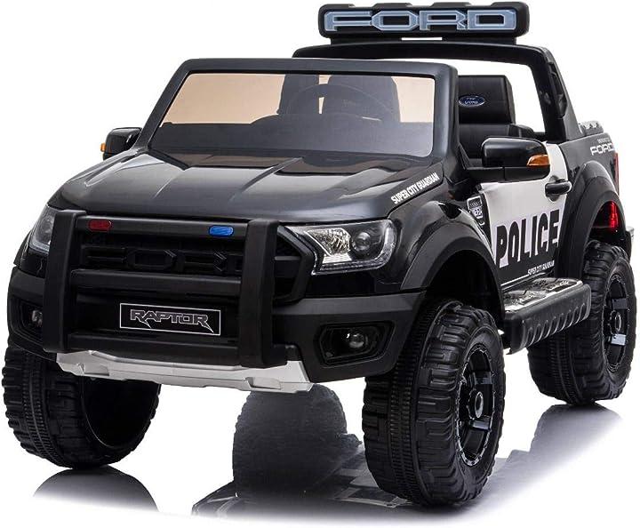 auto della polizia per bambini elettrica ford raptor, ruote eva, doppio sedile in pelle, 2,4 ghz riricar ?ford_ranger_black_police