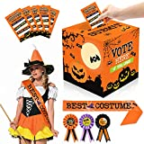 55 PCS Halloween Costume Contest Ballot Kit Orange Halloween Party Supplies Costume Contest Ballot Box Voting Cards Award Ribbons Best Costume Award Sash for Halloween Dress-Up Party Home Office Game