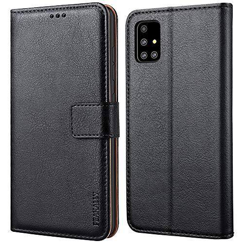 Peakally Samsung Galaxy A51 Hülle, Premium Leder Tasche Flip Wallet Hülle [Standfunktion] [Kartenfächern] PU-Leder Schutzhülle Brieftasche Handyhülle für Samsung Galaxy A51-Schwarz