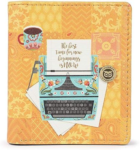 Floral Typewriter Yellow Printed Snap Button Wallet