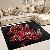 Use7 - Alfombra japonesa de dragón rojo para sala de estar, dormitorio, 160 cm x 122 cm