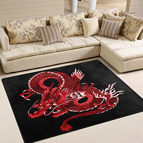 Use7 Japanese Red Dragon Area Rug Rugs for Living Room Bedroom 160cm x 122cm(5.3 x 4 feet)