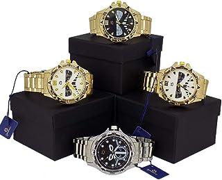 Kit Com 4 Relógios Masculino Orizom Originais Dourado Prata + caixa