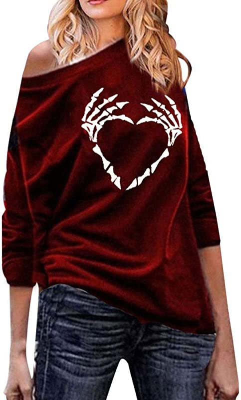 Gifts For Women Women S Fashion Long Sleeve Skull Print Casual Loose Sweatshirt Top Plus Size