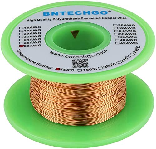 "BNTECHGO 28 AWG Magnet Wire - Enameled Copper Wire - Enameled Magnet Winding Wire - 4 oz - 0.0126"" Diameter 1 Spool C..."