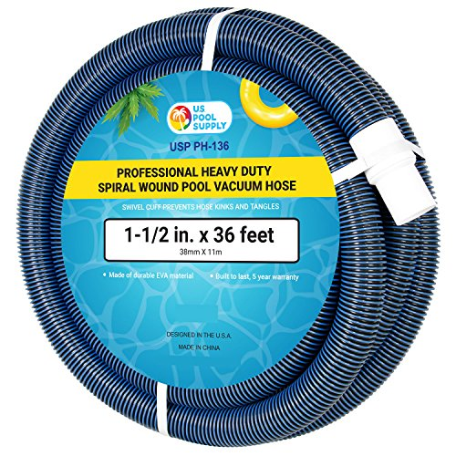 U.S. Pool Supply Heavy Duty Pool Vacuum Hose with Swivel Cuff – 1-1/2 in. x 36 ft.