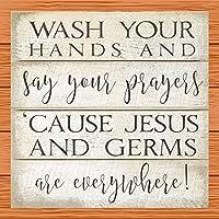 心に強く訴えるあなたの手を洗い、あなたの祈りを言いなさい。ホームオフィスホテルとバーのブリキ看板装飾
