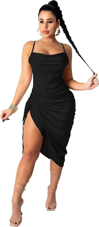 CAYBARON Women's Summer Sexy Ruched Midi Dress Sexy Spaghetti Strap Bodycon Drawstring Side Slit Slip Evening Party Clubwear