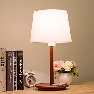 Modern Bedside Desk Lamp Nordic Solid Wood Table Lamp with Pull Chain Switch Fabric Lampshade Nightstand Lamp E27 Desktop ...