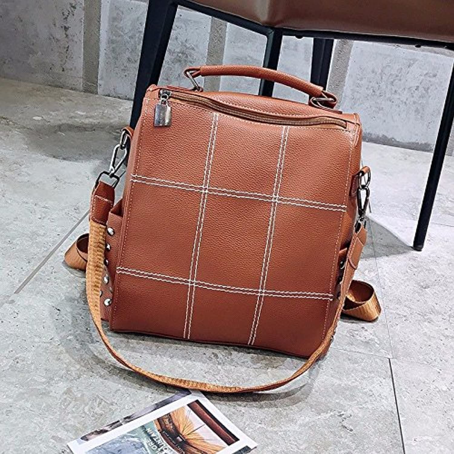 Womens Backpack Purse PU Leather Fashion Casual Shoulder Bag Daypack for Teenage Girls Brown