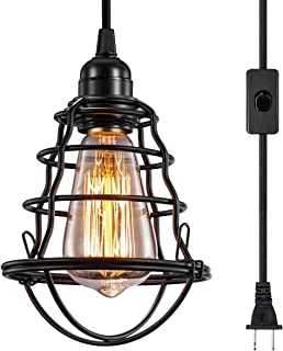 INNOCCY Industrial Plug in Pendant Light Vintage Hanging Cage Pendant Lighting E26 E27..