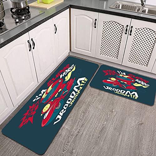 Juegos de alfombras de Cocina,Vector de diseño de impresión de Camiseta de Scooter Fresco,Antideslizantes Lavables de 2 Piezas Alfombra súper Absorbente