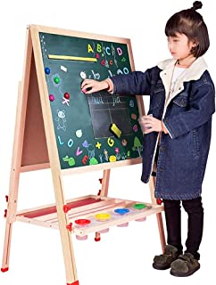 Children's Easel Kids Wooden Double Sided Art Easel Height Adjustable Standing Art Drawing Easel Multiple-Use Suitable for...