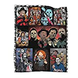Horror Movie Characters Blanket Thicken Warm Flannel Fleece Square Comfort Blanket Camping Outdoor Blankets for Adults Kids 60''x50''