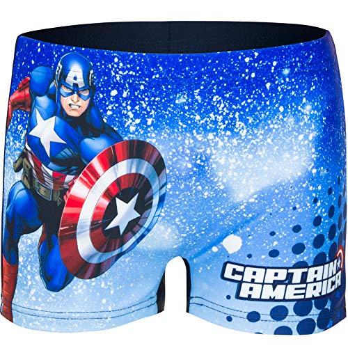 Marvel Avengers - Costume Boxer Pantaloncino Mare Piscina - Bambino - Prodotto Originale con Licenza Ufficiale 3971ES [Blu Captain America - 4 Anni - 104 cm]