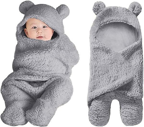 Rainlin Cute Baby Plush Swaddle Blankets Unisex Newborn Boys Girls Baby Shower Gifts Hooded Bear Sleeping Bag 0 6 Month Grey
