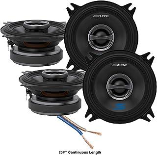 """$129 » Alpine S-S40 Car Audio Type S Series 4"""" 180 Watt Speakers - 2 Pair with 20' Wire Package"""