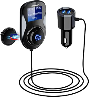Bluetooth FM Transmitter, ELEGIANT FM Transmitter Radio Adapter Hands-Free Car Kit with 1.4 Inch Display,Supports TF Card Slot & Dual USB Charging Ports,Safe Driving with One Key Control - Black
