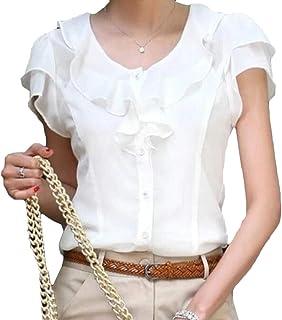 FRPE Women's Plus Size Ruffle Slim Fit Short-Sleeve Chiffon T-Shirt Blouse Top