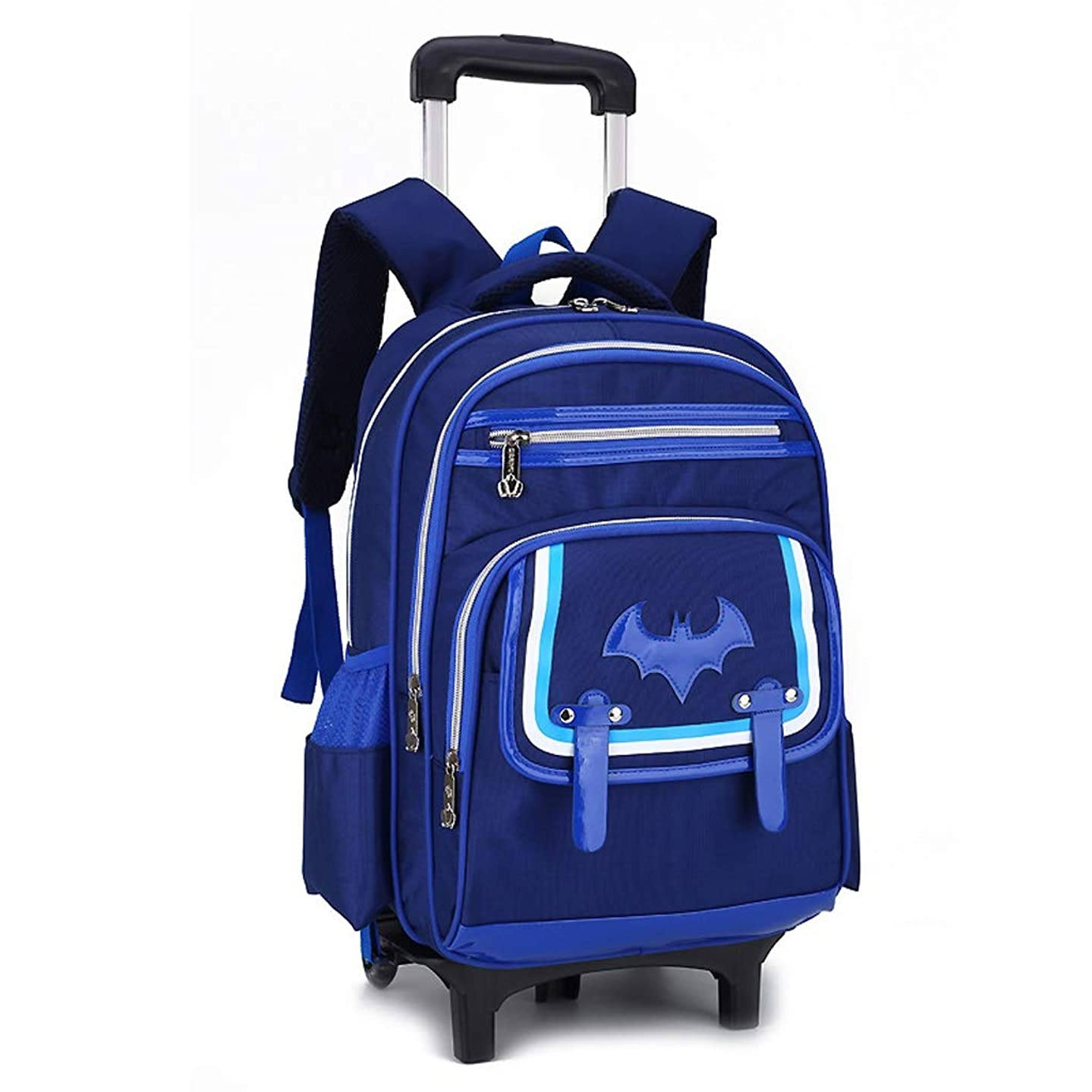 C-Xka Waterproof Wheeled Backpack Cute Cartoon Rolling Backpack Elementary Students Wheeled Book Bag Primary School Bag Carry-on Luggage Bag Girls Boys (Color : Blue, Size : Six Rounds)