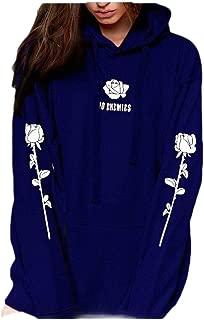Macondoo Women's Autumn Flower Printed Hooded Pullover Fleece Sweatshirts
