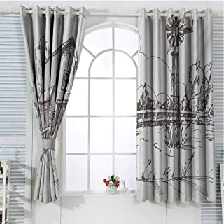 FreeKite Windmill Living Room Curtains 2 Panel Sets Rustic Barn Farmhouse Hand Drawn Illustration Countryside Rural Meadow Home Decor Blackout Curtains W107 x L107 Inch Dark Brown and White