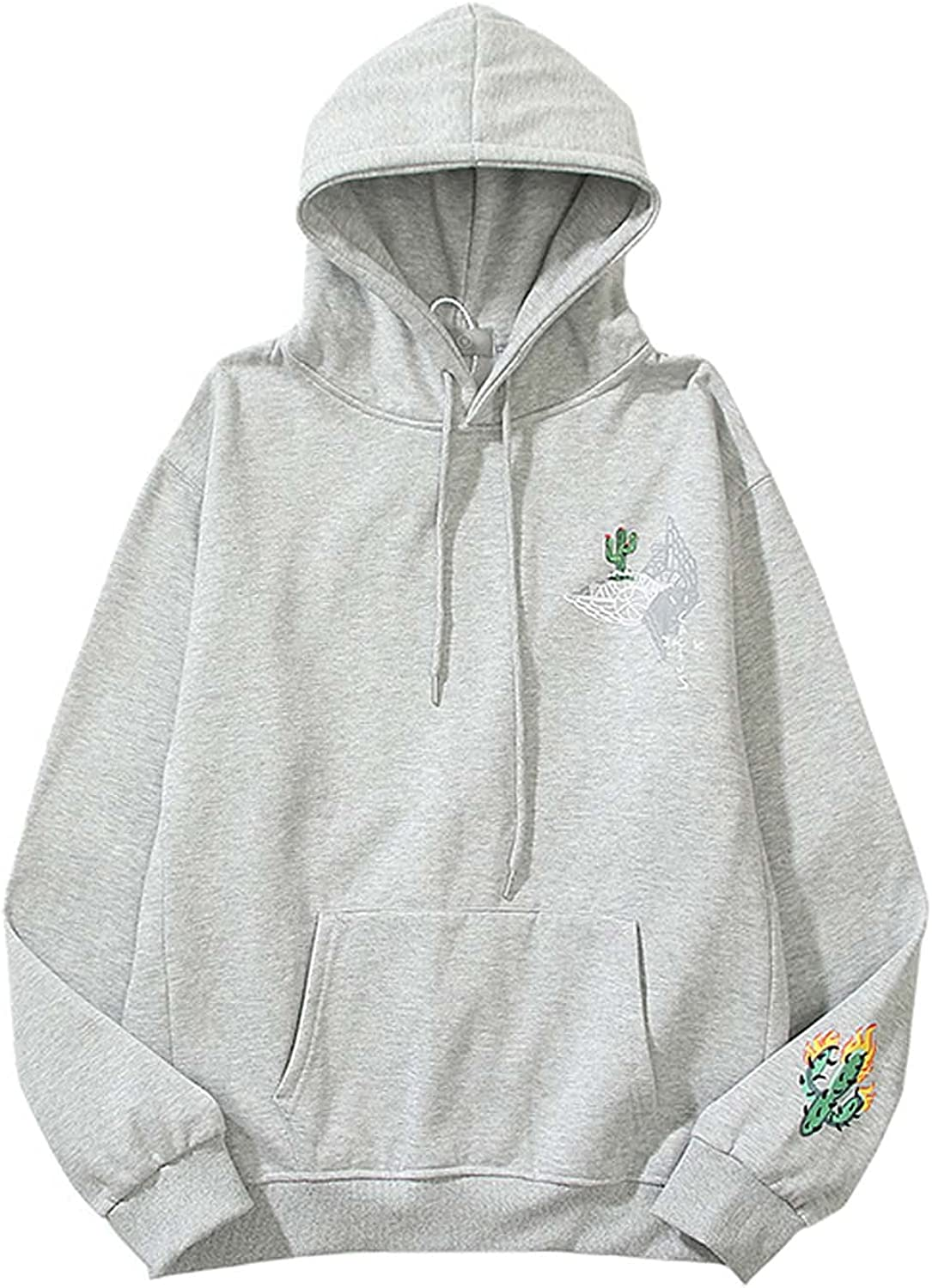 LemonLip Man's T Albuquerque Mall S Hoodie Clearance SALE Limited time AIR Pullover Stitching Cactus Printed