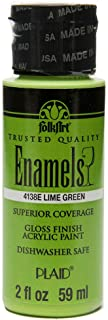 FolkArt Enamel Glass & Ceramic Paint in Assorted Colors (2 oz), 4138, Lime Green
